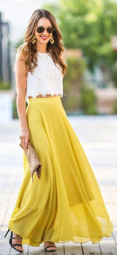 4. Crop Top + Long Skirt + High Heels
