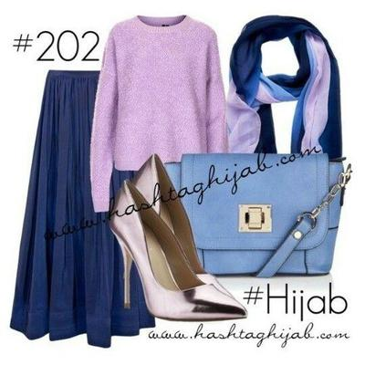 Kombinasi Style Hijab Biru dengan Ungu