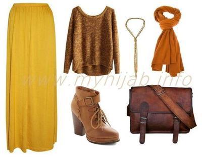 Kombinasi Style Hijab Warna Kuning dan Coklat