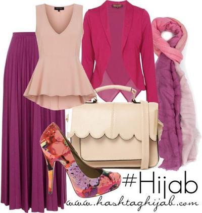 Kombinasi Style Hijab Merah Muda dan Ungu