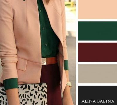 Green Maroon and Cream Combination