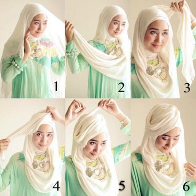 Gambar Tutorial Hijab Segi Empat Untuk Lebaran Hijabfest