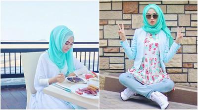 Padu Padan Warna Hijab Tosca Ini Membuat Penampilanmu Makin Manis