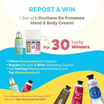 [Instagram Giveaway!] Repost & Menangkan 1 Set Skin Care dari L'OCCITANE untuk 30 Pemenang!
