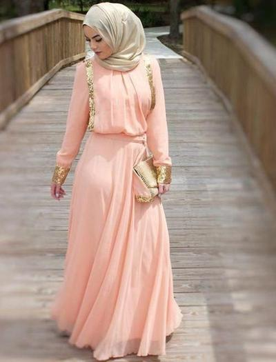Menggemaskan Inilah Inspirasi Gaun Hijab Warna Peach Yang Cocok