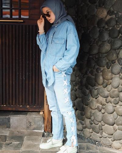 Oversized Denim Jacket + Pattern Pants