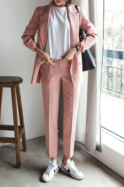 Color Coordinated Blazer with Pants and White Sneakers