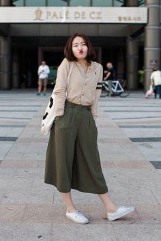 Wide Culottes and Basic Cotton Shirt