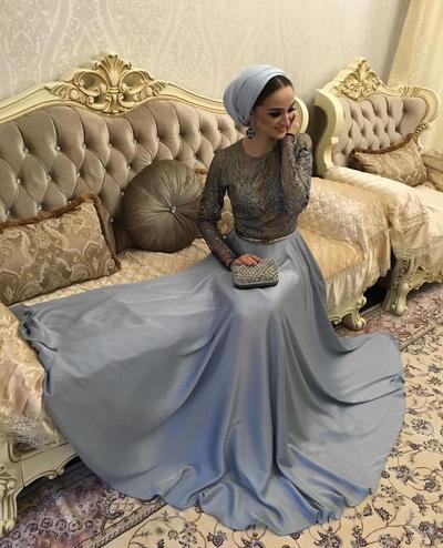 Embellished Dress and Turban Hijab Style