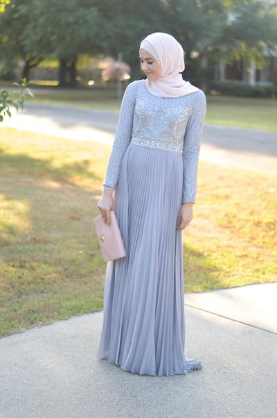 Embellished Gown with Pleated Details