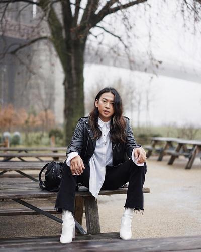 White Shirt and Leather Jacket