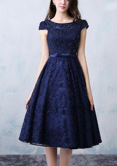 Navy Dress with Beading Details