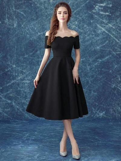 Black Simple Sabrina Dress