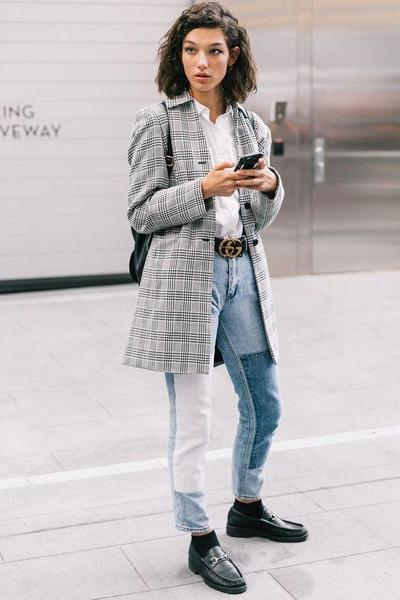 Patched Jeans with Boxy Blazer