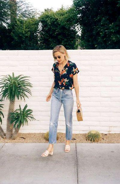 Ripped Jeans with Patterned Shirt for Casual to Semi-Formal Look