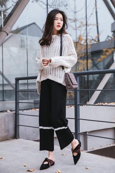 Comfy Look with Sweater, Loafer Mules, and Wide Leg Pants