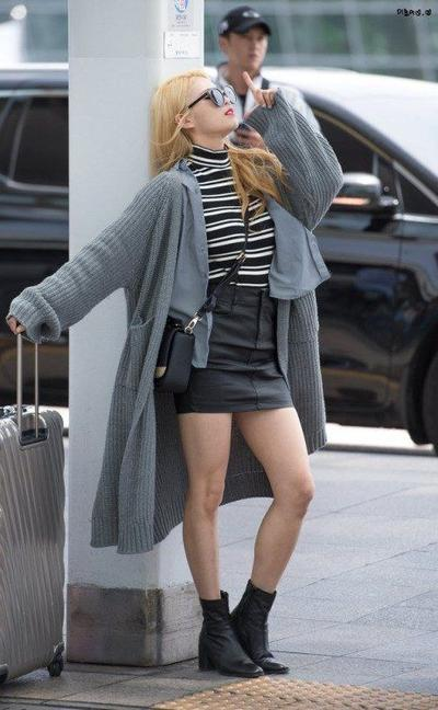 Leather Skirt with Boots and Wool Outer
