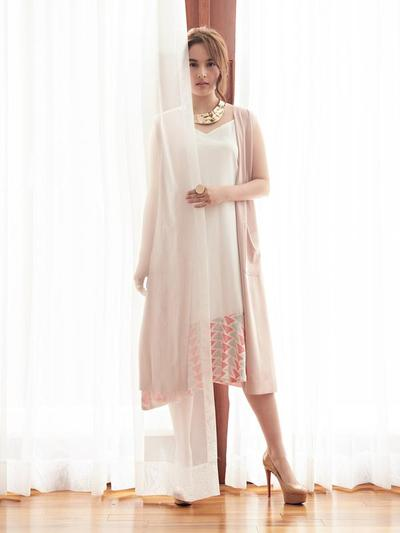 Dress With Long Outer Nude