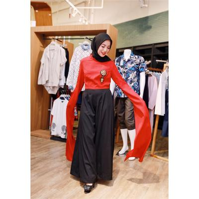 Wide Leg Pants with Unique Sleeves Detail