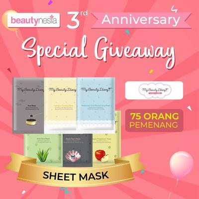 [Anniversary Special Giveaway] My Beauty Diary, Sheet Mask yang Praktis Bikin Kulit Glowing