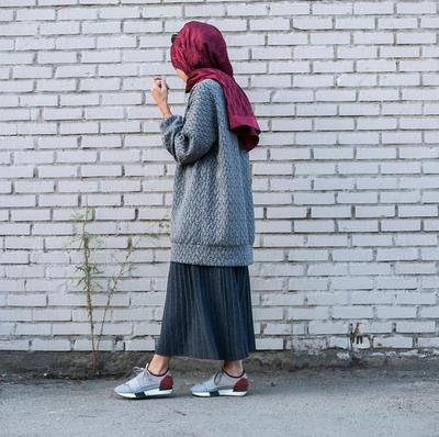 Pleated Skirt dan Cardigan