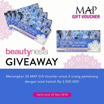 [GIVEAWAY ALERT] Ikutan Beautynesia Giveaway, Menangkan MAP Gift Voucher Senilai Total Rp 2.000.000!