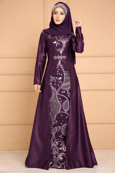 Model Baju Gamis Batik Kombinasi Kain Satin