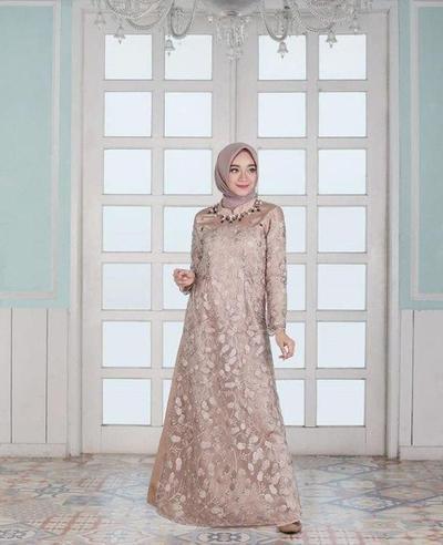 Model Baju Gamis Batik Kombinasi Brukat