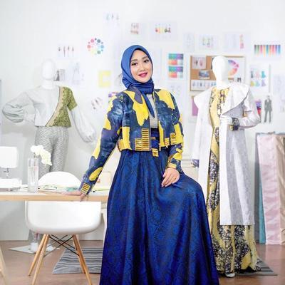 Model Baju Gamis Batik Kombinasi Outer