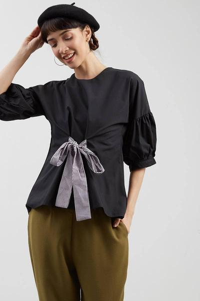 Cotton Bluse Baloon Sleeve with Stripe