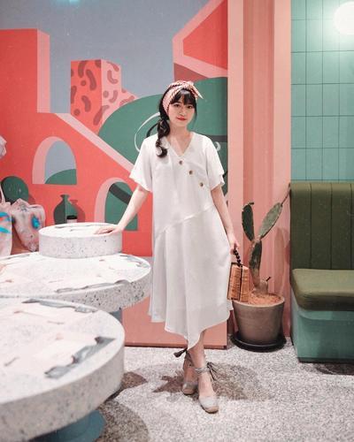 3. Asymmetric White Dress