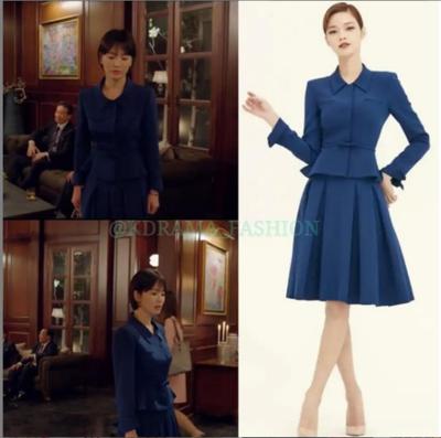 2.  Jaket Berwarna Biru Dipadukan dengan Rok Bawahan