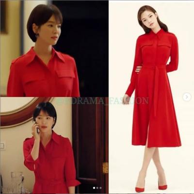 3.  Dress  Merah dengan Mini Lady Dior Lambskin Bag Berwarna Sky Blue