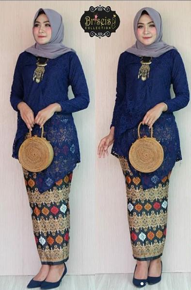 2. Model Kebaya Hijab Brukat Lengan Panjang