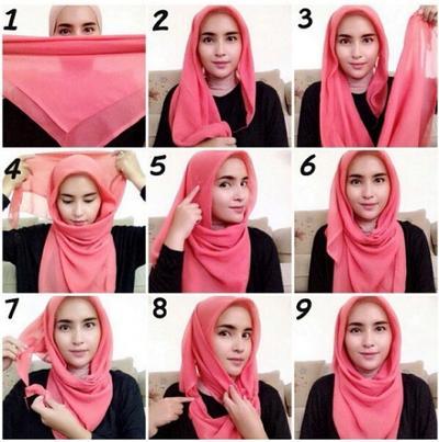 Tutorial Hijab Segi Empat - Dagu Terbuka