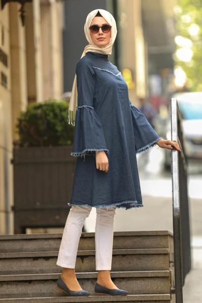 5. Celana Panjang Putih  dengan Tunic Navy Blue