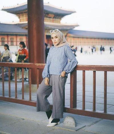 Hijab Perpaduan Coklat & Biru