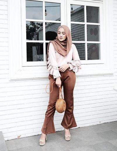 Hijab Perpaduan Coklat & Beige