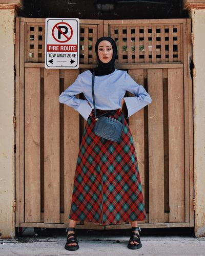 A-Line Skirt Bermotif Kotak