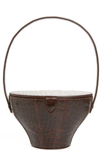5.  Staud Alice Croc Embossed Leather Bucket Bag