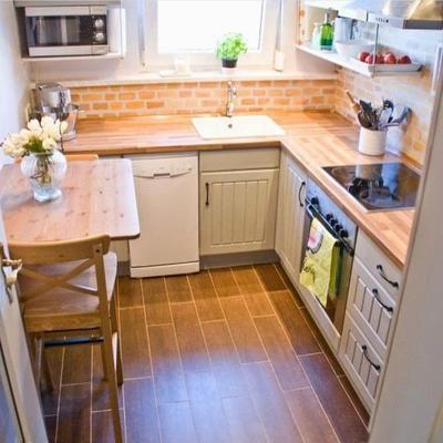 3. Desain Dapur Minimalis Kecil dengan Furniture Kayu
