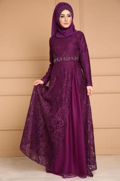 Long Dress Kebaya Brokat Full Ungu