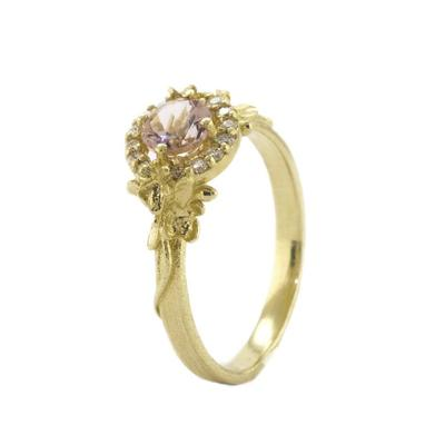 Large Spring Halo Morganite Ring
