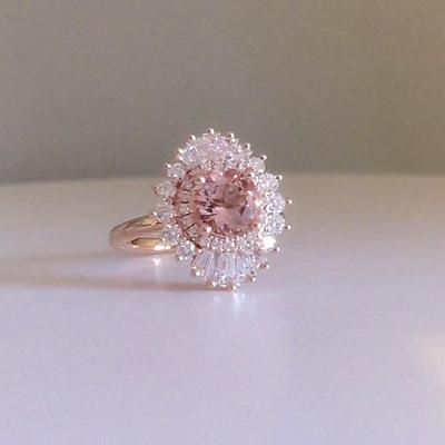 Art Deco Morganite Engagement Ring