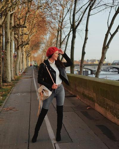 Leather Jacket and Beret Hats