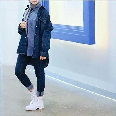 5. Bawahan Soft Jeans Gelap