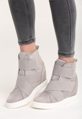 Strip Grey Sneakers Wedges