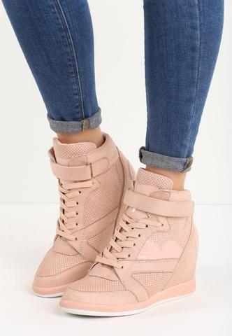 Pink Strip & Shoelace Sneakers Wedges