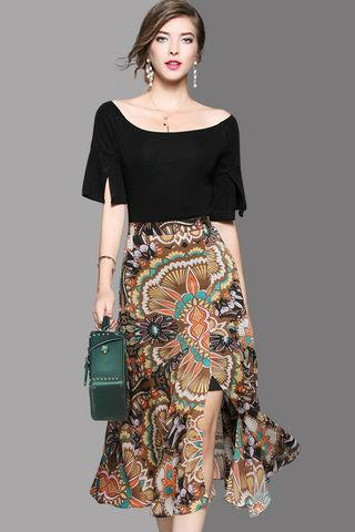 Midi Rok Batik Span High Split dengan Atasan Blouse Wide Neck