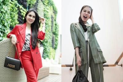 6 Gaya Blazer ala Sandra Dewi Cocok untuk Mama Muda ke Kantor dan Hangout